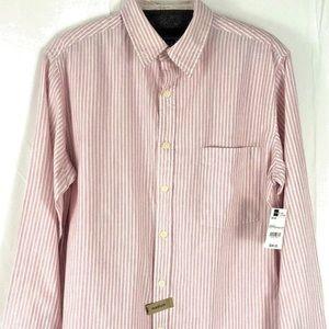 AriZona Button Front Long Sleeve Striped Shirt